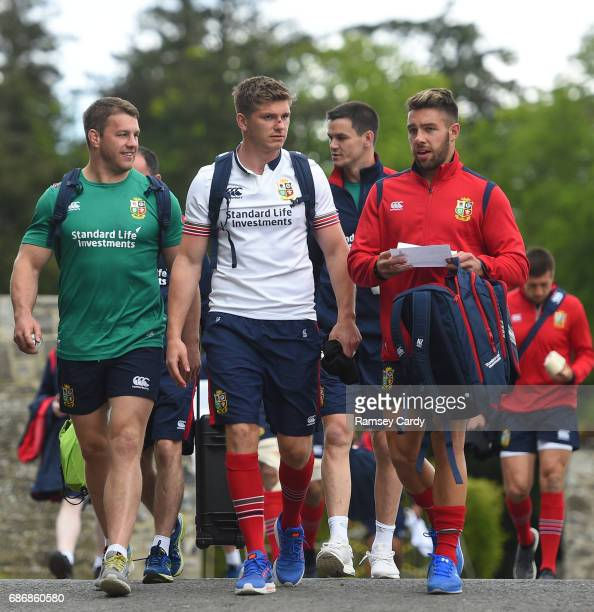 Kildare Ireland 22 May 2017 British and Irish Lions players from left Sean O'Brien Owen Farrell Jonathan Sexton and Rhys Webb arrive for squad...