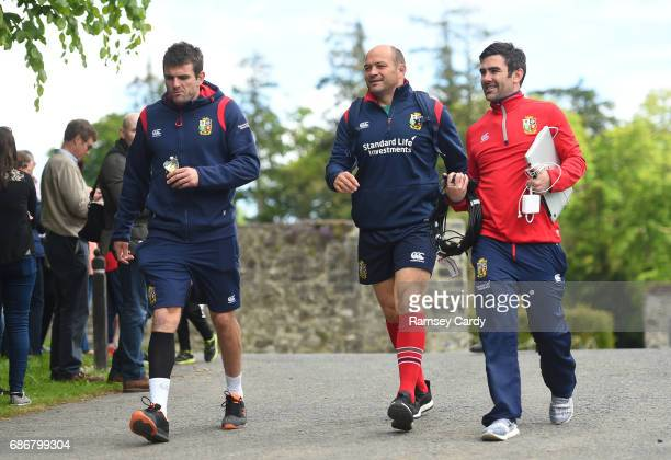 Kildare Ireland 22 May 2017 Jared Payne left and Rory Best centre of British and Irish Lions arrive for squad training at Carton House in Maynooth Co...