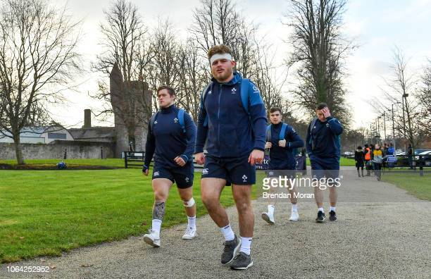Kildare , Ireland - 22 November 2018; Andrew Porter, left, and Finlay Bealham arrive for Ireland rugby squad training at Carton House in Maynooth,...