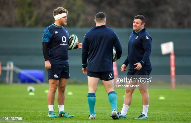 Kildare , Ireland - 22 November 2018; Ireland props, from left, Finlay Bealham, Cian Healy and Dave Kilcoyne during squad training at Carton House in...