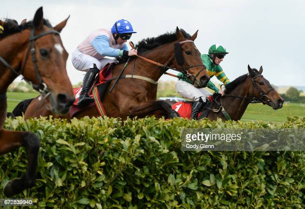 Kildare Ireland 25 April 2017 Enniskillen with Jamie Codd up jumps the second to last on their way to winning the Kildare Hunt Club Fr Sean Breen...