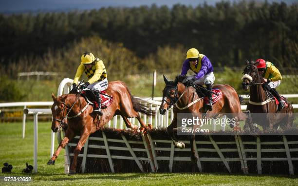 Kildare Ireland 25 April 2017 Melon with Ruby Walsh up who finished second jump the last ahead of eventual winner Cilaos Emery with David Mullins up...