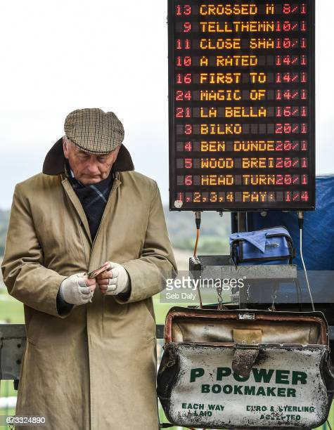 Kildare Ireland 26 April 2017 Bookmaker Roddy Martin from Cork at Punchestown Racecourse in Naas Co Kildare