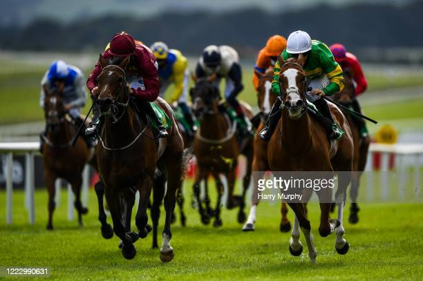 Kildare Ireland 26 June 2020 Music To My Ears right with Wayne Lordan up on their way to winning the TRM Fillies Handicap ahead of eventual second...