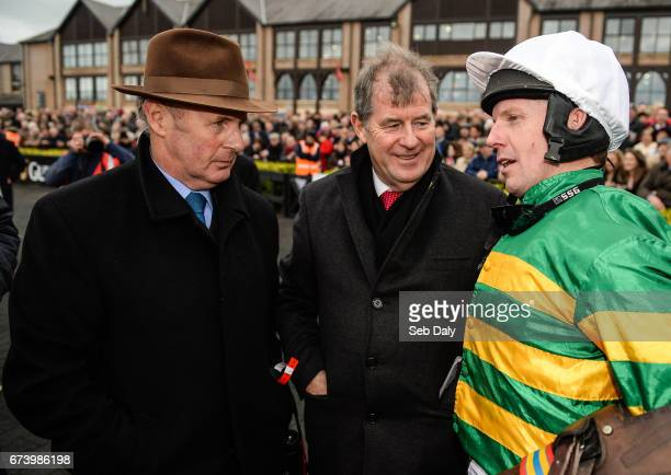 Kildare Ireland 27 April 2017 Frank Berry racing manager to JP McManus left trainer JP McManus centre and jockey Noel Fehily after winning the...