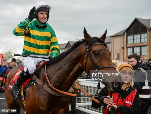 Kildare Ireland 27 April 2017 Noel Fehily acknowledges the crowd as he enters the winners' enclosure after winning the Ladbrokes Champion Stayers...