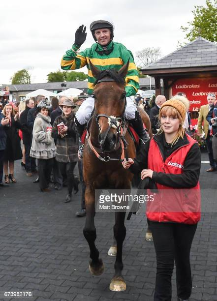Kildare Ireland 27 April 2017 Noel Fehily on Unowhatimeanharry celebrates after winning the Ladbrokes Champion Stayers Hurdle at Punchestown...