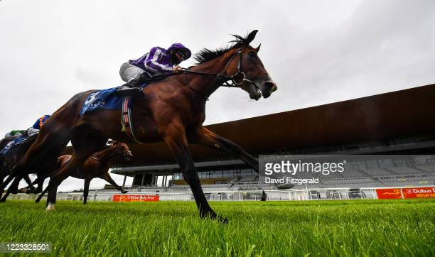 Kildare Ireland 28 June 2020 Hudson River with Seamie Heffernan up cross the line to win the Irish Stallion Farms EBF Maiden race during day three of...