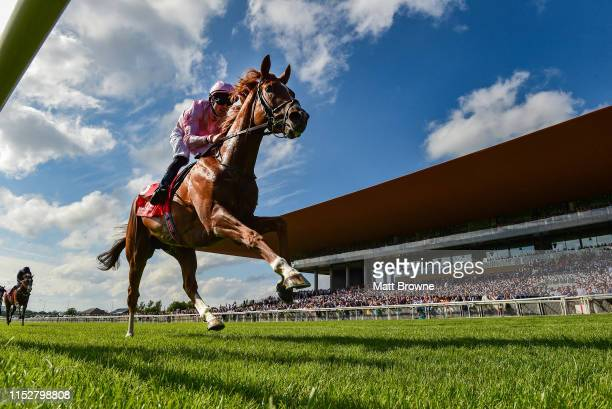 Kildare , Ireland - 29 June 2019; Sovereign with Padraig Beggy up, on their way to winning the Dubai Duty Free Irish Derby during day three of the...