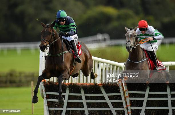 Kildare Ireland 29 September 2020 Dewcup left with Mark Walsh up jumps the last ahead of eventual second place Curlew Hill with Jack Kennedy up on...
