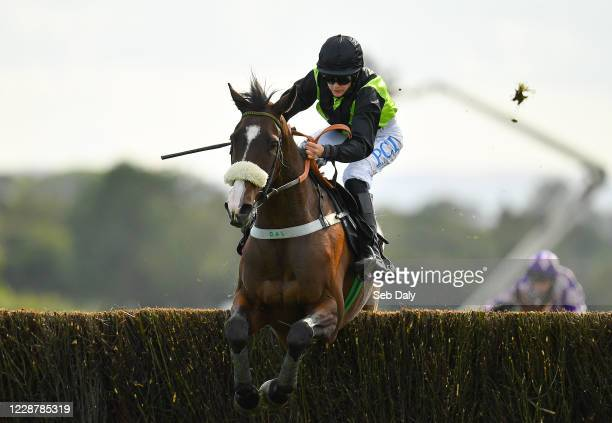 Kildare Ireland 29 September 2020 Jack Hackett with Rachael Blackmore up jumps the last on their way to winning the Pigsback Book Your Staycation...