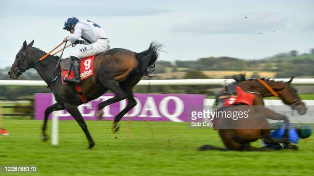 Kildare Ireland 29 September 2020 Jimmy Jimmy with Jack Kennedy up gallops over the fallen Minella Escape and an unseated Rachael Blackmore on their...