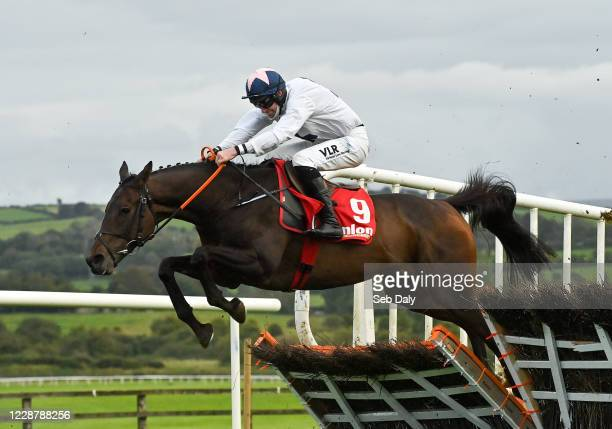 Kildare Ireland 29 September 2020 Jimmy Jimmy with Jack Kennedy up jumps the last on their way to winning the Hanlon Concrete Maiden Hurdle at...