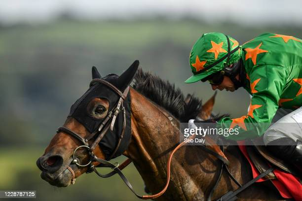 Kildare Ireland 29 September 2020 Rebel Gold with Paddy Kennedy up on their way to winning the Exhibit A Displays Handicap Hurdle at Punchestown...