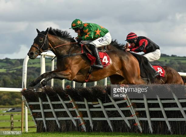 Kildare Ireland 29 September 2020 Rebel Gold with Paddy Kennedy up jumps the last on their way to winning the Exhibit A Displays Handicap Hurdle at...