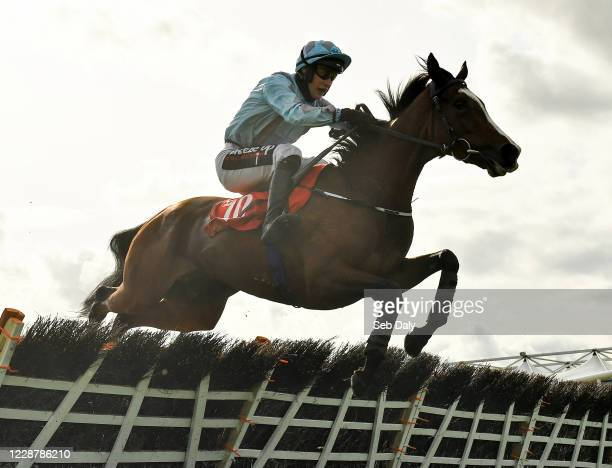 Kildare Ireland 29 September 2020 Scholastic with JJ Slevin up jumps the last on their way to winning the EMS Copiers 3YO Maiden Hurdle at...