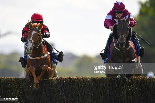 Kildare Ireland 29 September 2020 Shumaker left with Darragh O'Keeffe up jumps the last alongside eventual second place Dakota Moirette with Jack...
