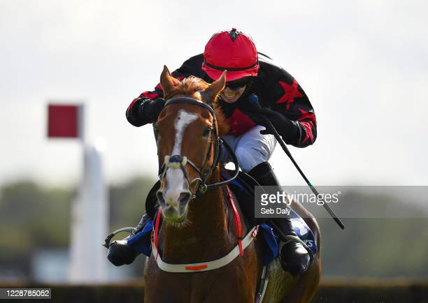 Kildare Ireland 29 September 2020 Shumaker with Darragh O'Keeffe up on their way to winning the Close Brothers Beginners Steeplechase at Punchestown...