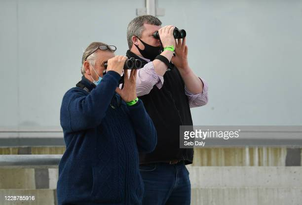 Kildare Ireland 29 September 2020 Trainers Noel Meade left and Gordon Elliott watch the action during the EMS Copiers 3YO Maiden Hurdle at...