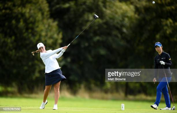 Kildare Ireland 30 August 2018 Kristen Gillman of USA tees off from the 17th during the 2018 World Amateur Team Golf Championships at Carton House in...