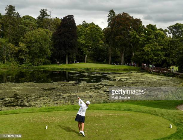 Kildare Ireland 30 August 2018 Kristen Gillman of USA tees off from the 16th during the 2018 World Amateur Team Golf Championships at Carton House in...