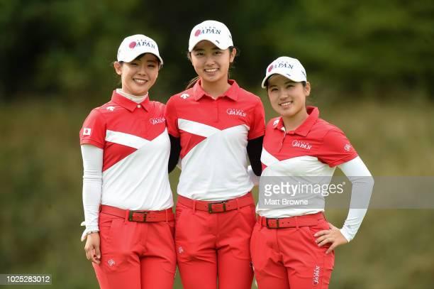 Kildare Ireland 30 August 2018 The Japanese team from left Yuri Yoshida Yuka Yasuda and Yuna Nishimura after day 2 of the 2018 World Amateur Team...