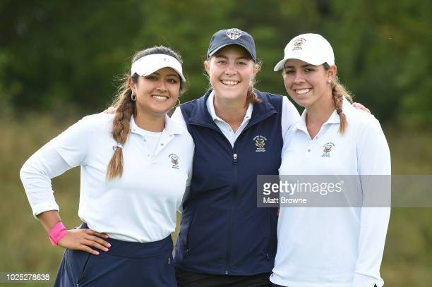 Kildare Ireland 30 August 2018 USA team members from left Lilia Vu Jennifer Kupcho and Kristen Gillman after their round during day 2 of the 2018...