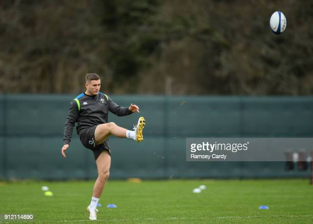 Kildare Ireland 30 January 2018 Jordan Larmour during Ireland rugby squad training at Carton House in Maynooth Co Kildare