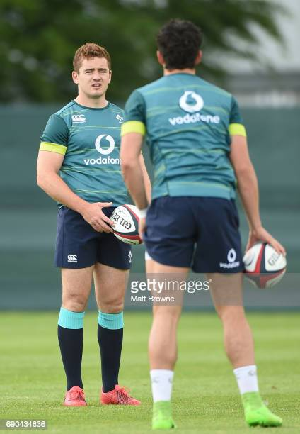 Kildare Ireland 31 May 2017 Paddy Jackson and Joey Carbery of Ireland during squad training at Carton House Maynooth in Co Kildare