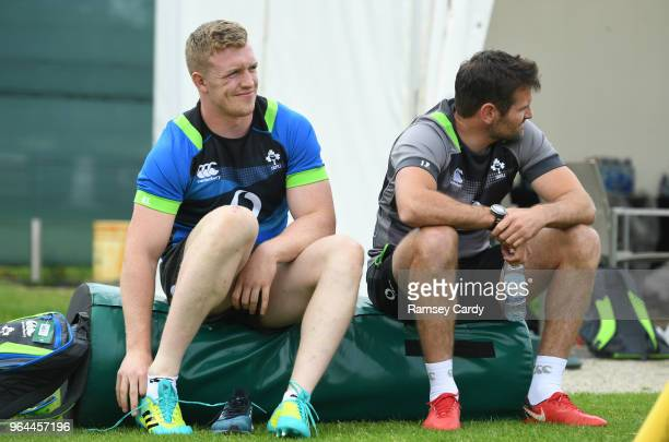 Kildare Ireland 31 May 2018 Dan Leavy left and coach Jared Payne during Ireland squad training at Carton House in Maynooth Co Kildare
