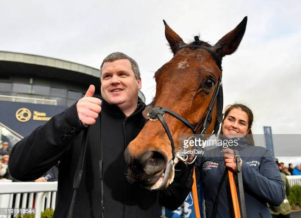 Kildare Ireland 5 January 2020 Trainer Gordon Elliott celebrates after sending out Envoi Allen to win the Lawlor's Of Naas Novice Hurdle at Naas...