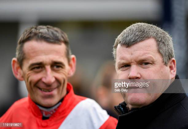 Kildare Ireland 5 January 2020 Trainer Gordon Elliott right with jockey Davy Russell after sending out Envoi Allen to win the Lawlor's Of Naas Novice...