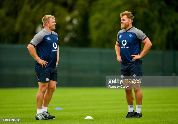 Kildare , Ireland - 6 August 2019; John Ryan, left, and Finlay Bealham during Ireland Rugby squad training at Carton House in Maynooth, Kildare.