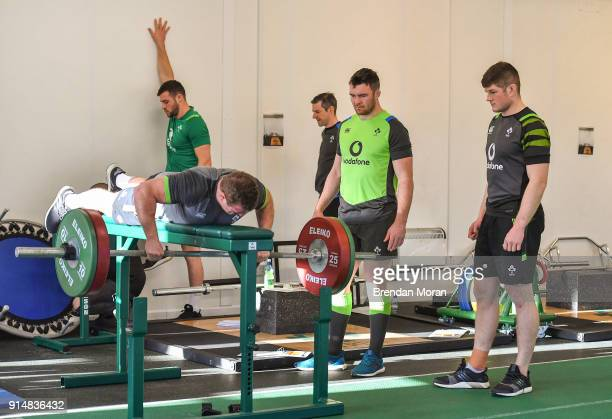 Kildare Ireland 6 February 2018 Jack O'Donoghue right and Peter O'Mahony watch Sean Cronin lift weights during an Ireland rugby gym session at Carton...