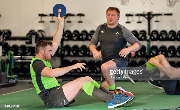 Kildare Ireland 6 February 2018 Peter O'Mahony during an Ireland rugby gym session at Carton House in Maynooth Co Kildare