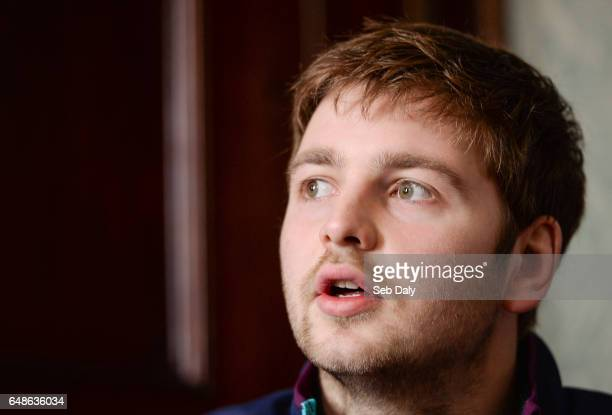 Kildare Ireland 6 March 2017 Iain Henderson of Ireland speaking during a press conference at Carton House in Maynooth Co Kildare
