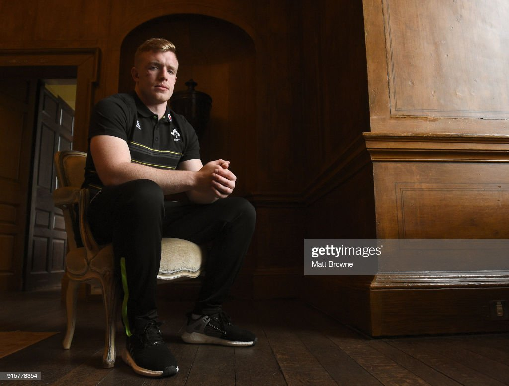 Kildare , Ireland - 8 February 2018; Dan Leavy after an Ireland Rugby squad press conference at Carton House in Kildare.
