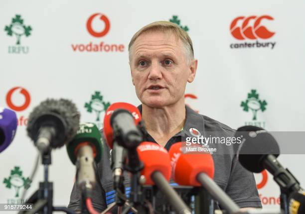 Kildare Ireland 8 February 2018 Head coach Joe Schmidt during an Ireland Rugby squad press conference at Carton House in Kildare