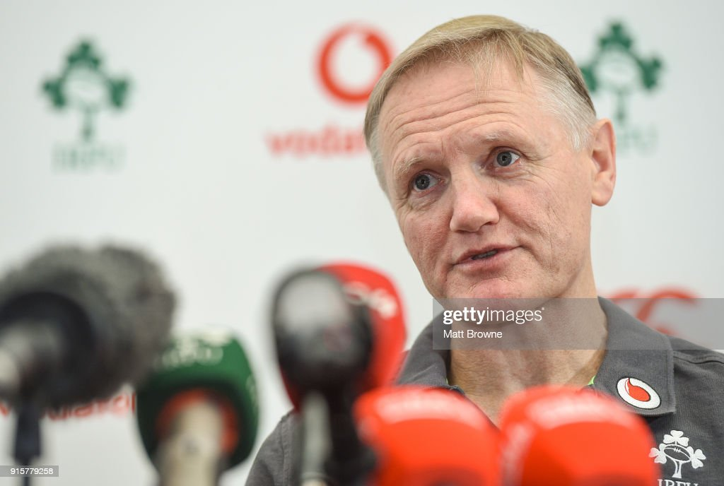 Kildare , Ireland - 8 February 2018; Head coach Joe Schmidt during an Ireland Rugby squad press conference at Carton House in Kildare.