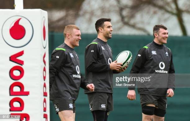 Kildare Ireland 8 February 2018 Keith Earls left along with Conor Murray centre and Peter O'Mahony during Ireland Rugby squad training at Carton...