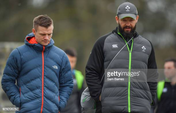 Kildare Ireland 8 March 2018 Defence coach Andy Farrell right arrives with Ulster assistant coach Dwayne Peel Ireland rugby squad training at Carton...