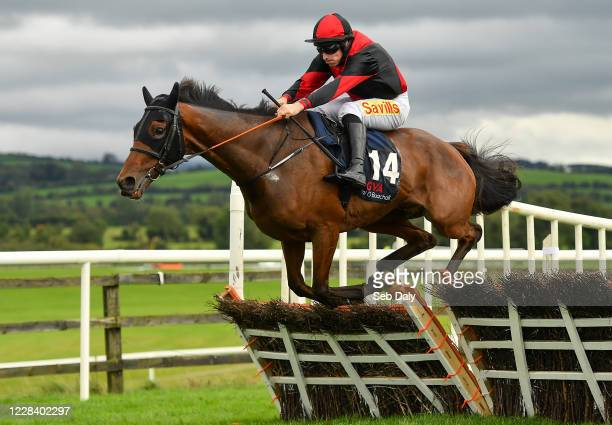 Kildare Ireland 8 September 2020 Gold Speed with Sean Flanagan up jumps the last on their way to winning the GVA Donal O'Buachalla Handicap Hurdle at...