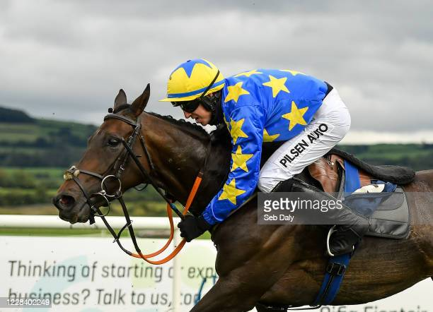Kildare Ireland 8 September 2020 Jockey Conor McNamara is almost unseated from his mount Bread And Butter after jumping the last on their way to...