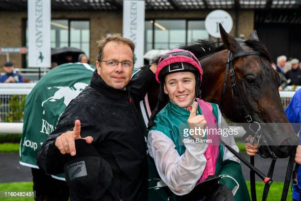 Kildare Ireland 9 August 2019 Siskin with jockey Colin Keane right and trainer Ger Lyons left after winning The Keeneland Phoenix Stakes at The...