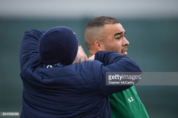 Kildare Ireland 9 February 2017 Simon Zebo of Ireland has a GPS unit fitted during squad training at Carton House in Maynooth Co Kildare
