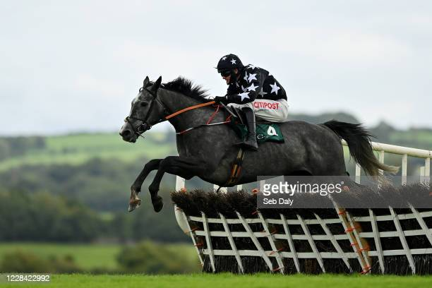Kildare Ireland 9 September 2020 Dancing Jeremy with David Mullins up jumps the sixth during the Enter Now For Goffs December National Hunt Sale...