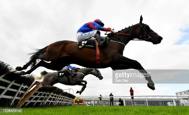 Kildare Ireland 9 September 2020 Ellie Mac near with Rachael Blackmore up jumps the last ahead of eventual second place Mister Fogpatches with Danny...