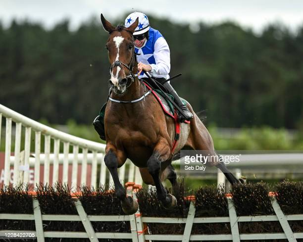 Kildare Ireland 9 September 2020 Get Rich Die Plyin with Jack Kennedy up jumps the last on their way to winning the Enter Now For Goffs December...