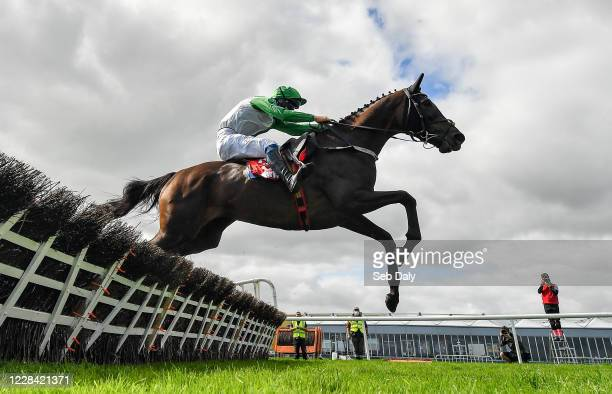 Kildare Ireland 9 September 2020 Getaway Gorgeous with David Mullins up jumps the last on their way to winning the Irish Daily Mirror Mares Novice...