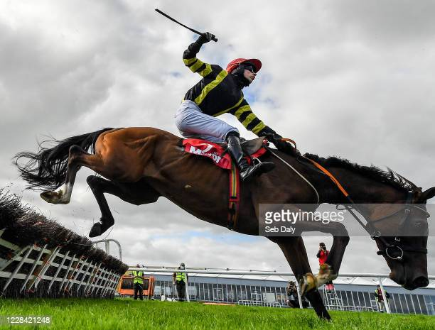 Kildare Ireland 9 September 2020 Mayfly Girl with Jody McGarvey up almost falls at the last during the Irish Daily Mirror Mares Novice Hurdle at...